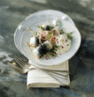 Rollmops with cream, dill and pink pepper berries