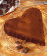 Moist heart-shaped chocolate cake