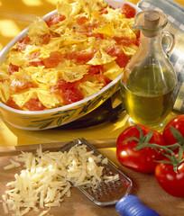 Pasta and tomato gratin