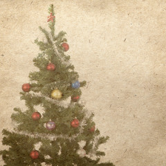 vintage wallpaper background with Christmas tree
