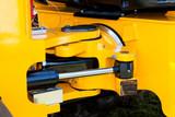 Yellow Hydraulic Excavator Articulation Mechanism Close Up Detai poster