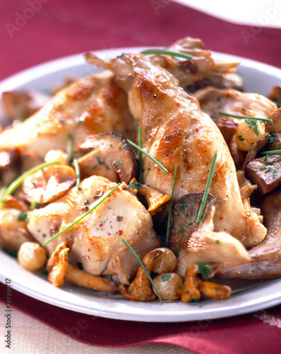 Rabbit fricassée with mushrooms