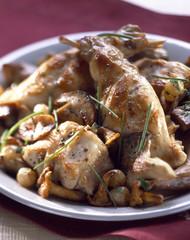 Roast rabbit with mushrooms