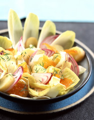 Chicory,potato and haddock salad