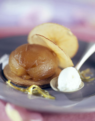 Caramelized apple with fromage blanc sorbet