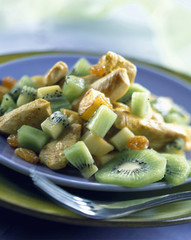 Pan-fried curried chicken and kiwis