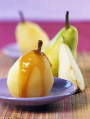 Pears in salted butter toffee and ginger syrup