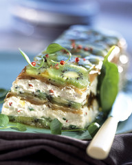Salmon,cream cheese and kiwi terrine