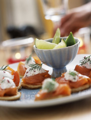 Smoked salmon and fresh goat's cheese appetizers