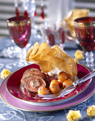 Doe fillet stuffed with chestnuts