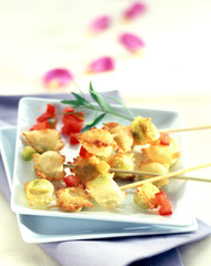 ravioli skewers with fleur de sel sea salt