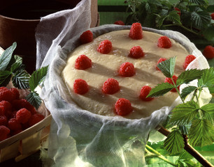 fromage blanc and raspberry pudding