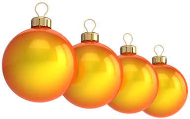 Orange Christmas balls in a row. New Year decoration (Hi-Res)