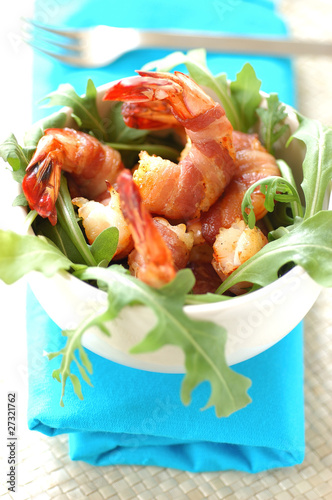 Roast Mediterranean prawns, smoked bacon and rocket lettuce
