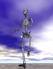 Steel Running Skeleton on wet sand