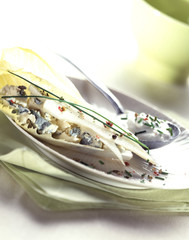chicory with pear and roquefort