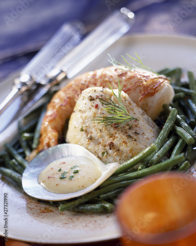 Monkfish ana gambas with green beans