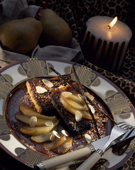 French toast with pan-fried pears and almonds