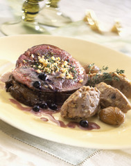 Slice of roast beef with mashed chestnuts
