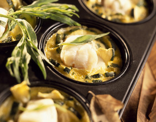 Monkfish and zucchini flan with tarragon