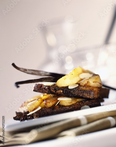 toasted gingerbread and pear sandwich