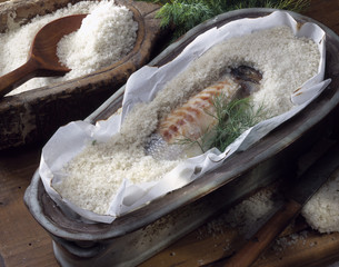 Bass in salt crust