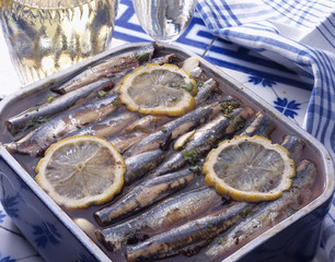 Fresh anchovies in wine and vinegar