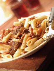 Penne with beef stew