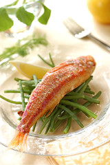 grilled marinated mullet with lemon
