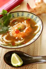 prawn soup with galanga and cafre lime juice
