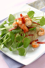 jerusalem artichoke puree, pan-fried prawns and strips of chorizo