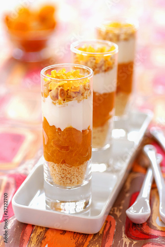 Orange, cream and sponge desserts
