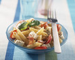 penne, raw ham, tomatoes and mozzarella salad