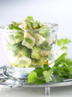 chilled diced cod and cucumber with coriander