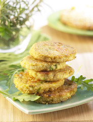 quinoa griddle cakes with carrots and leeks