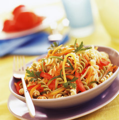 three-colored fusilli with vegetables