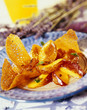 lavender-flavored apricot and peach salad with crunchy wafers