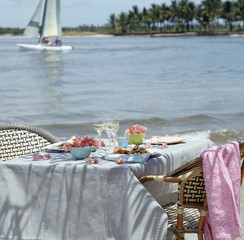 Table setting at Mauritian island