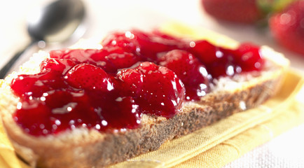 bread and strawberry jam