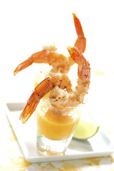 prawns in mango emulsion