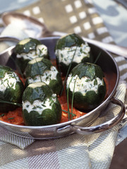 round baby courgettes stuffed with cheese
