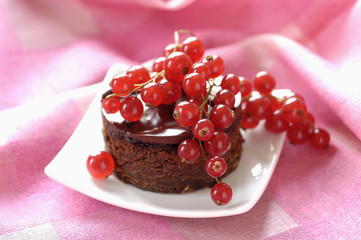 chocolate cake with redcurrants