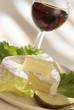 camembert with glass of red wine