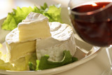camembert with glass of wine