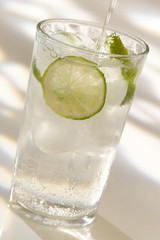 sparkling water with slice of lemon