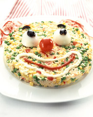 Clown face rice salad