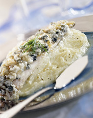Wedge sole topped with roquefort and celeriac puree