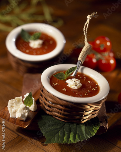 Cold tomato soup with feta