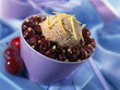 Praline ice cream with sour griotte cherries