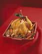 Free-range roast chicken stuffed with mushrooms